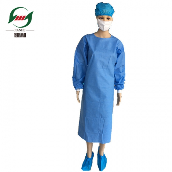 Hospital use Non woven blue isolation gown